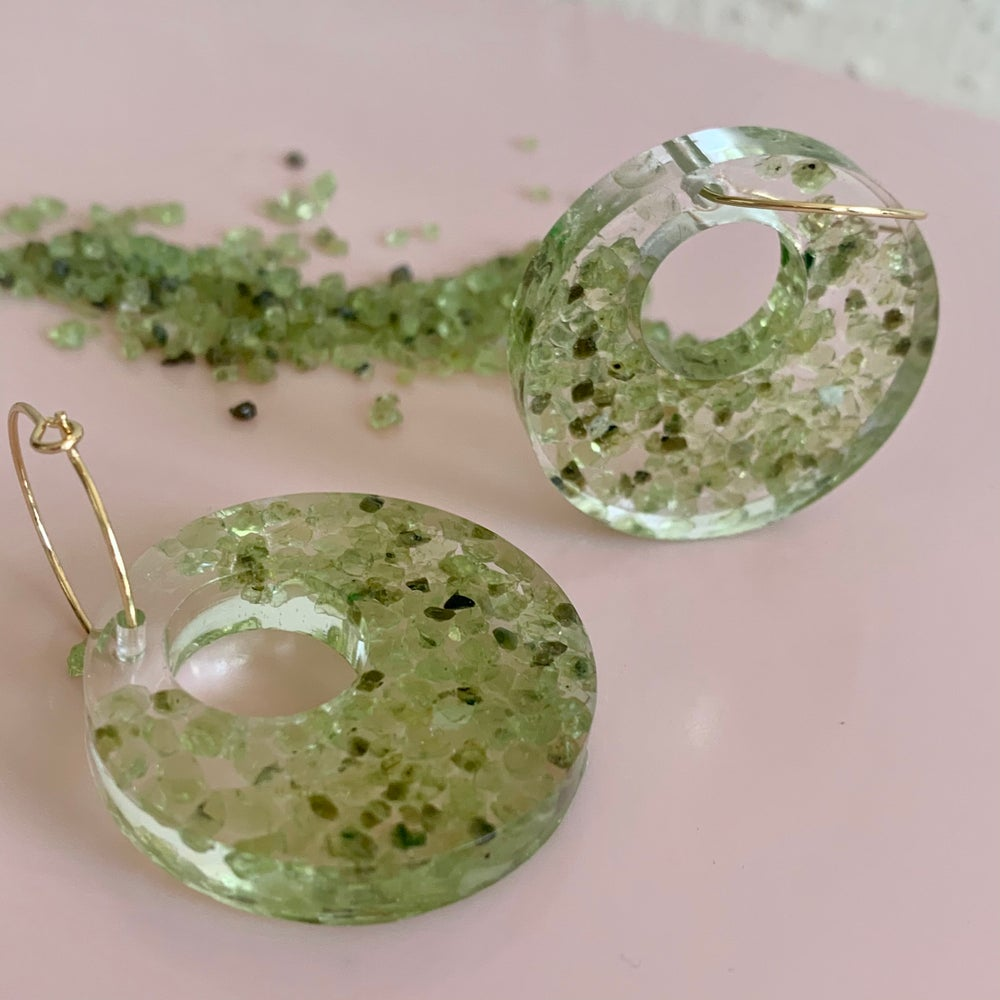 Image of Resin Circle with Hole Peridot Earrings