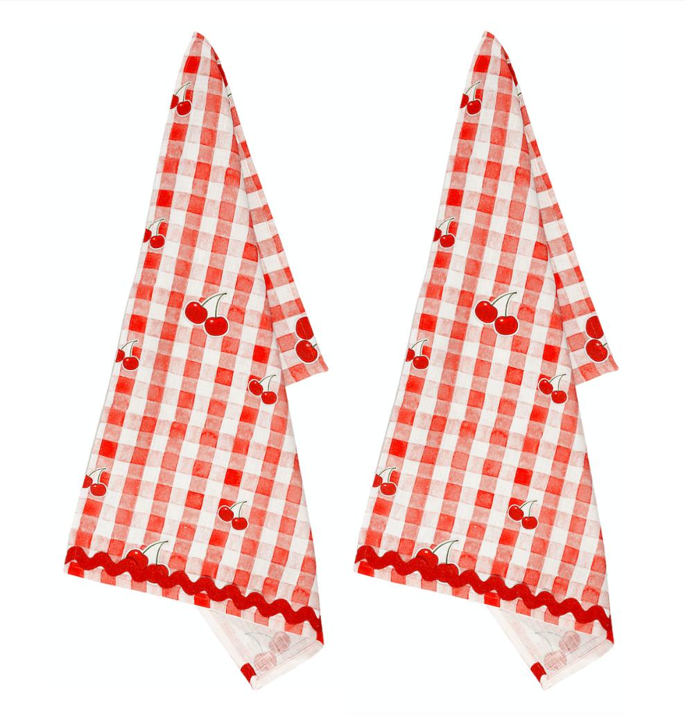 Image of Set di 2 canovacci in puro lino Picnic - Picnic linen tea towel set of 2