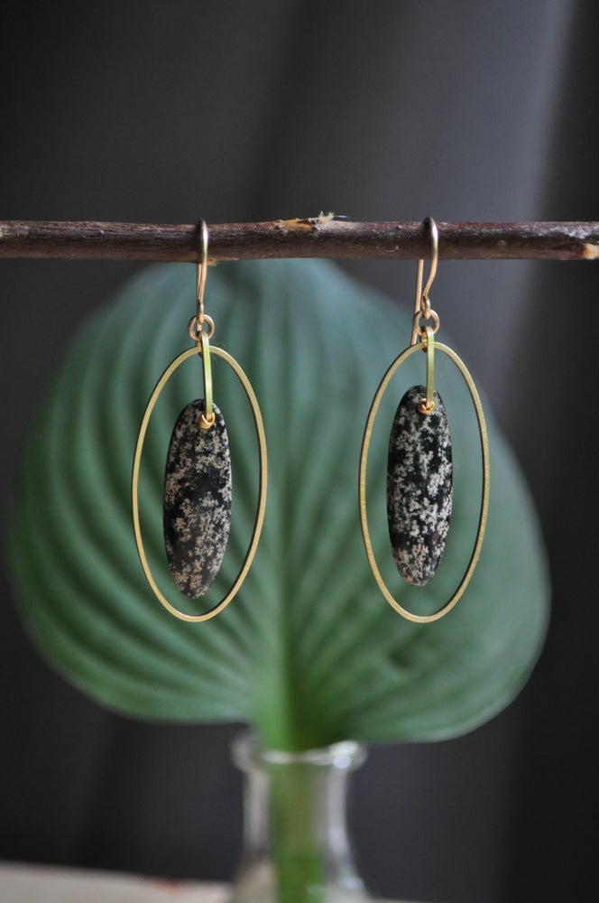 Image of Reserved Snowflake Obsidian Oval Hoops