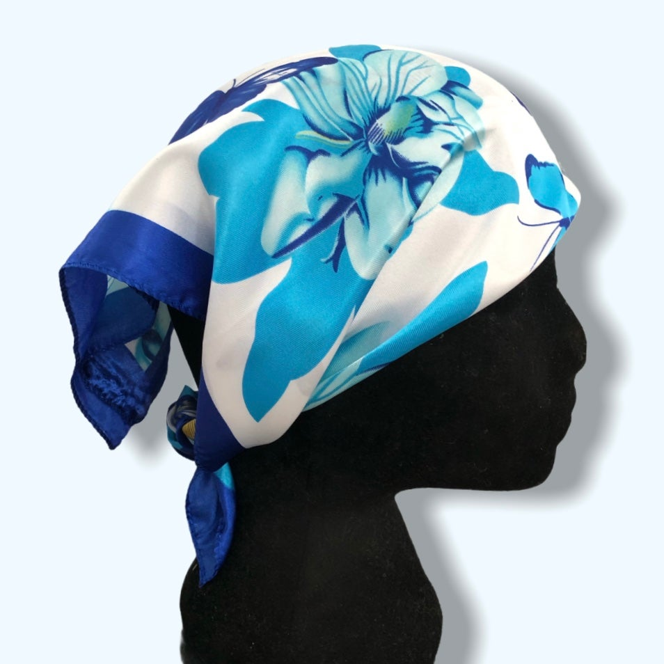 Image of Blue Butterfly Headscarf