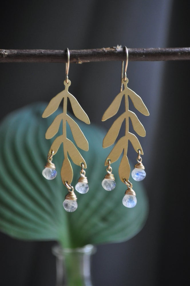 Image of Willow Dangles in Rainbow Moonstone