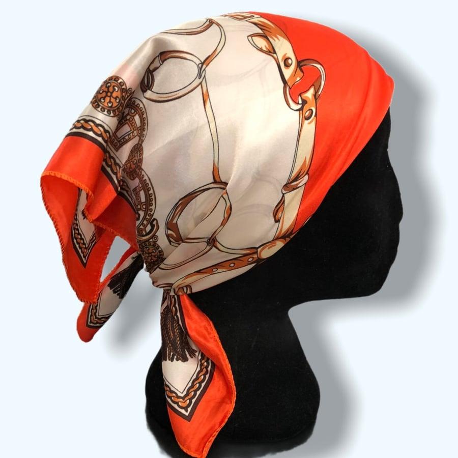 Image of Orange Chain Headscarf