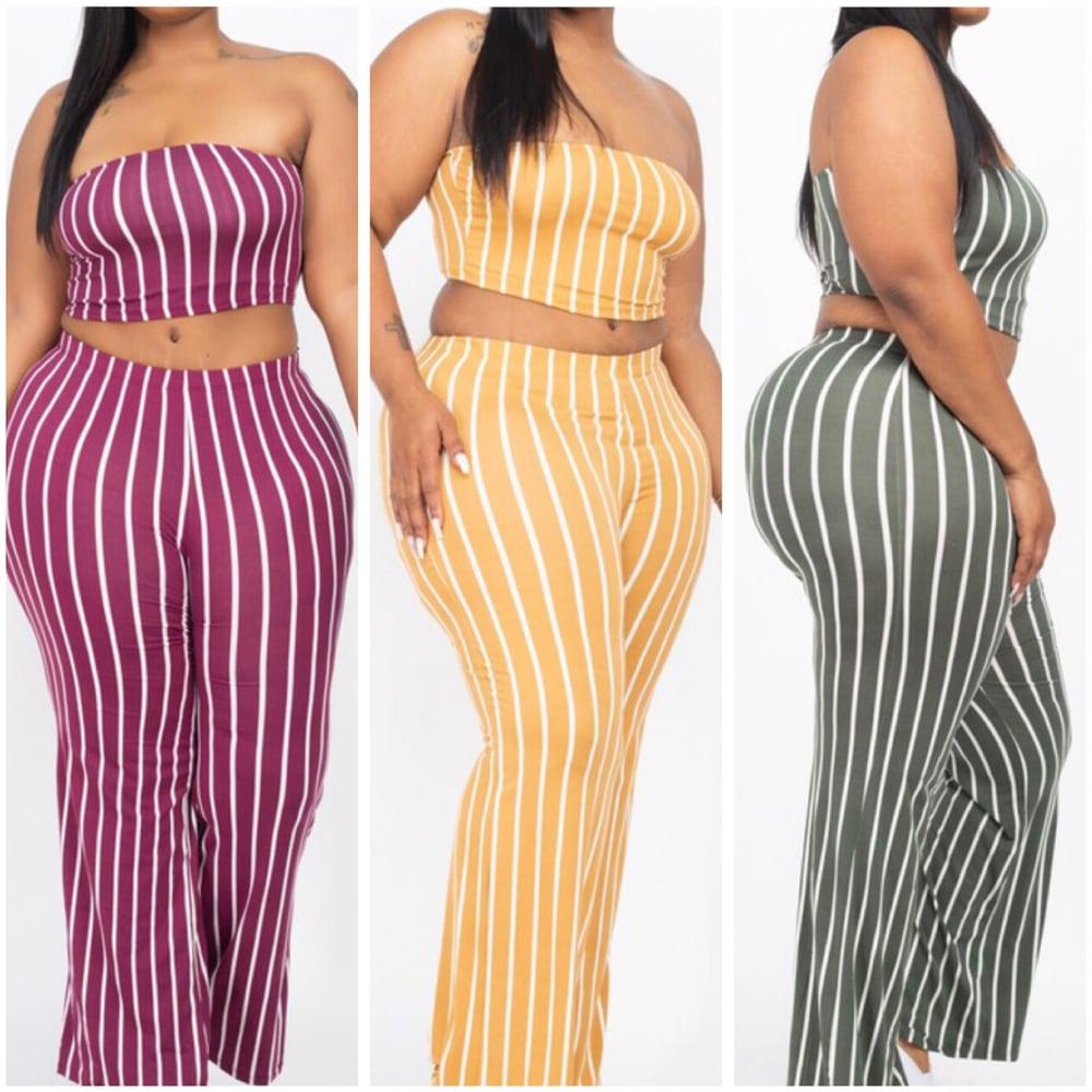 Image of #1087 Plus Size Striped Crop Top & Wide Leg Pants Set