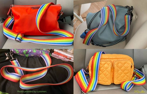 """Image of Rainbow Strap for Bags - 1.5"""" Wide - Adjustable Crossbody Length - Cotton Canvas - Style #19 Clips"""