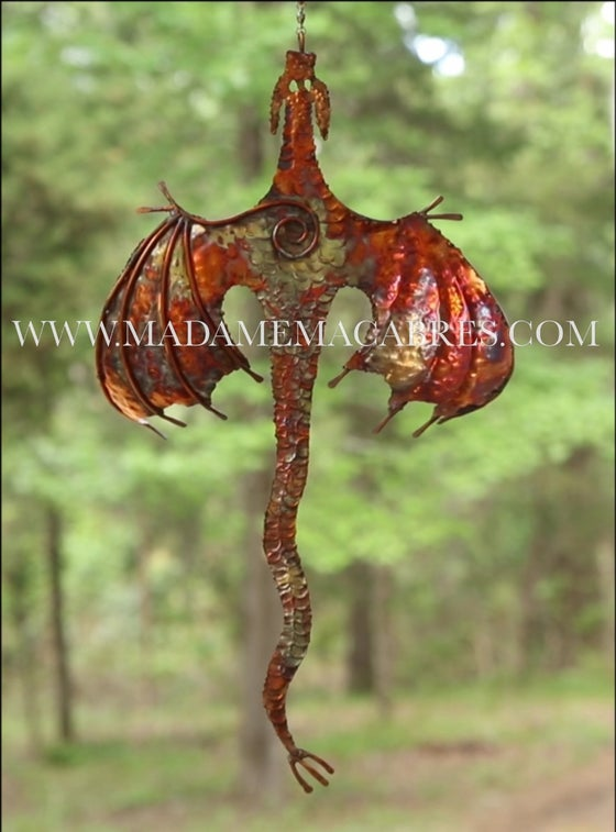 Image of Copper Dragon Wind Spinner - Wind Sculpture