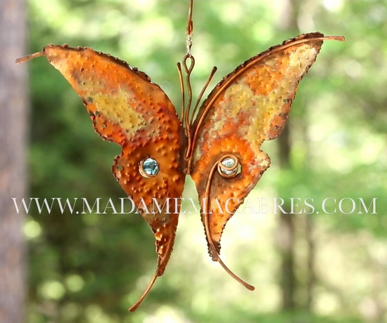 Image of Copper Butterfly Wind Spinner - Wind Sculpture