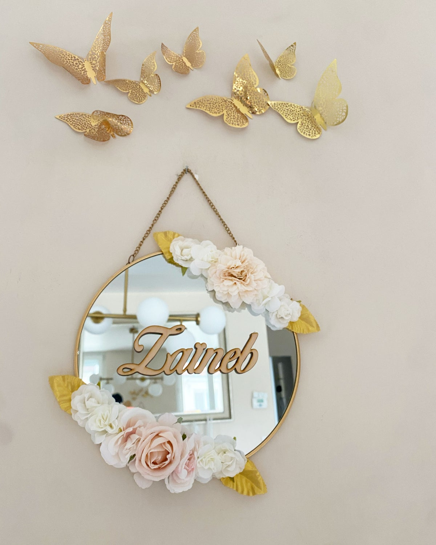 Image of Miroir fleuri prénom 20cm