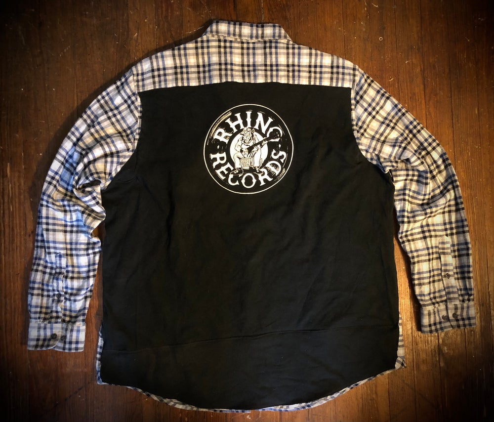 Rhino Records UPcycled  t-shirt flannel
