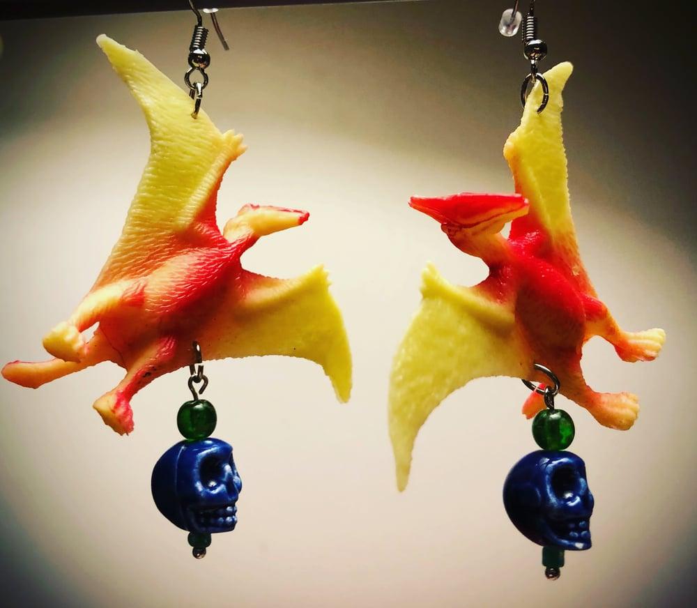 Dinosaur & Doggo custom earrings