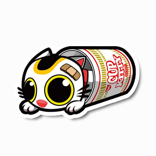 Image of Cup Kitty Tipped Over Sticker