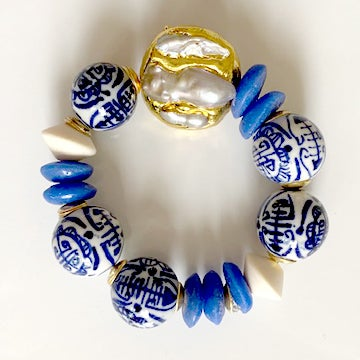 Image of Porcelain and Pearl Bead Bracelet