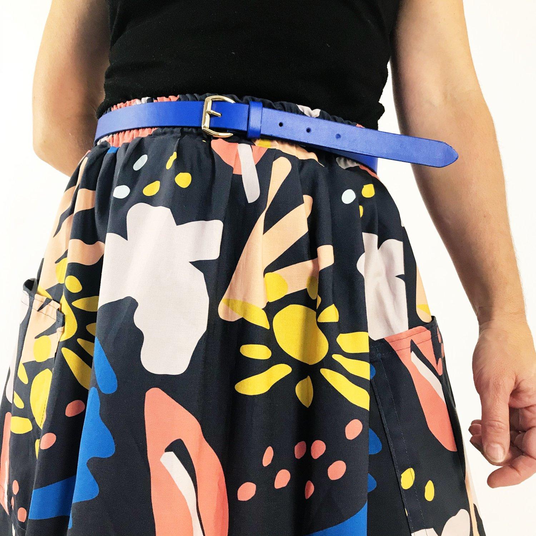 Cobalt Blue Leather Belt
