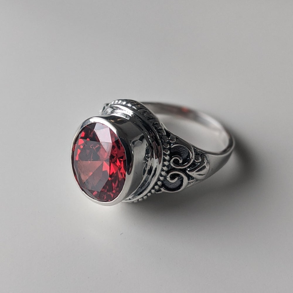 Image of Sterling Silver ring with light Red stone