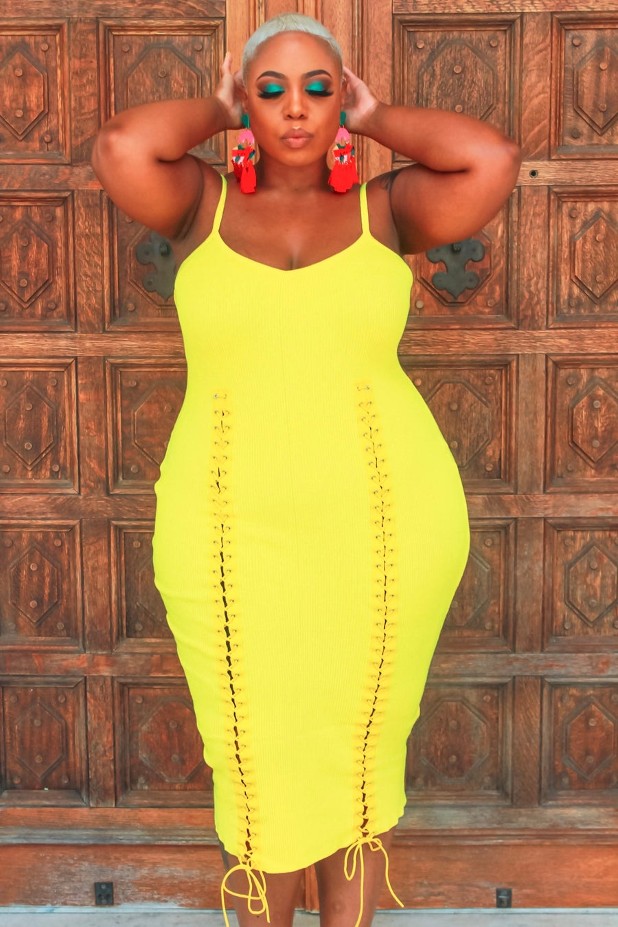 Image of Yellow Lace Me Down Dress