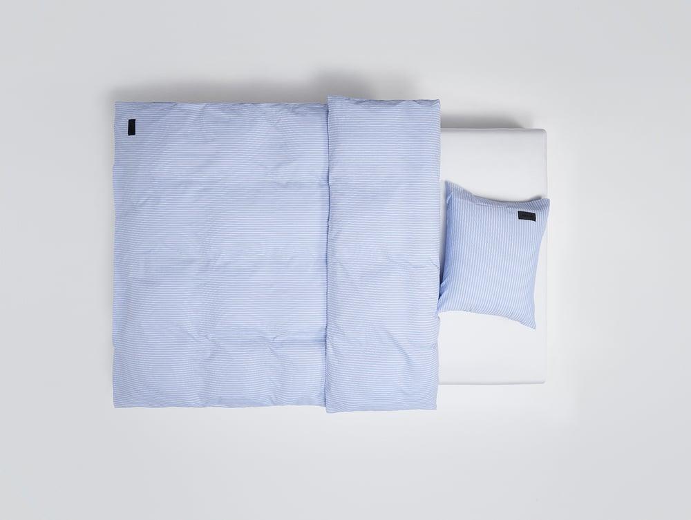 Image of Duvet Magnibert Oxford hellblau gestreift