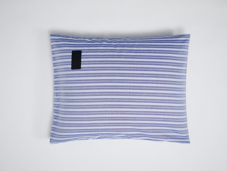 Image of Kissenbezug Magniberg Oxford dunkelblau gestreift