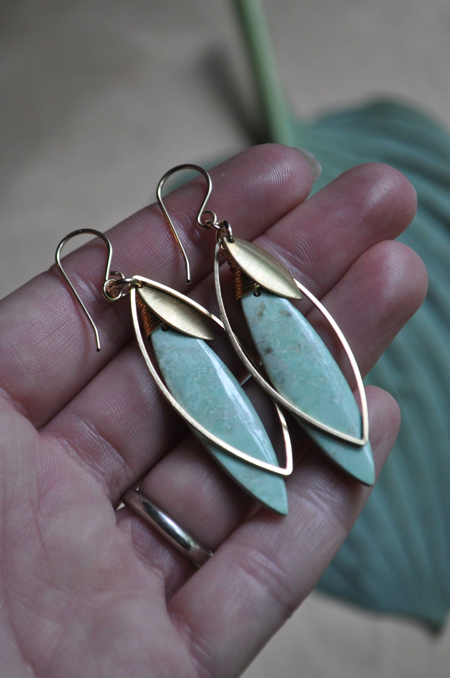 Image of One of a Kind Green Turquoise Marquise Dangles