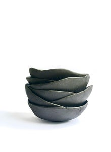Image of black stoneware soup and tea bowls