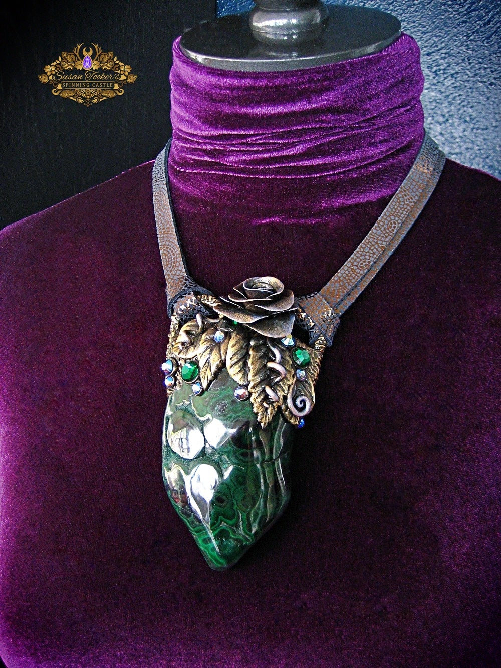 Image of HEART OF THE FOREST - Malachite Statement Amulet Necklace Witch Aesthetic