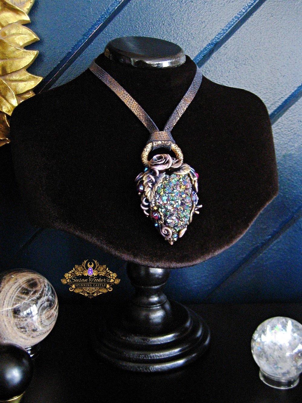 Image of QUEENE TATIANA - Titanium Rainbow Aura Quartz Crystal Statement Amulet Necklace Witch Aesthetic