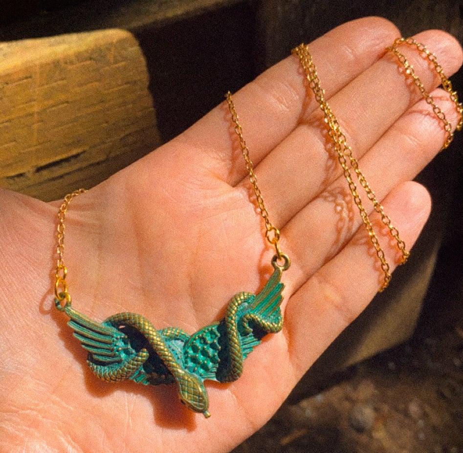 Image of golden snake necklace