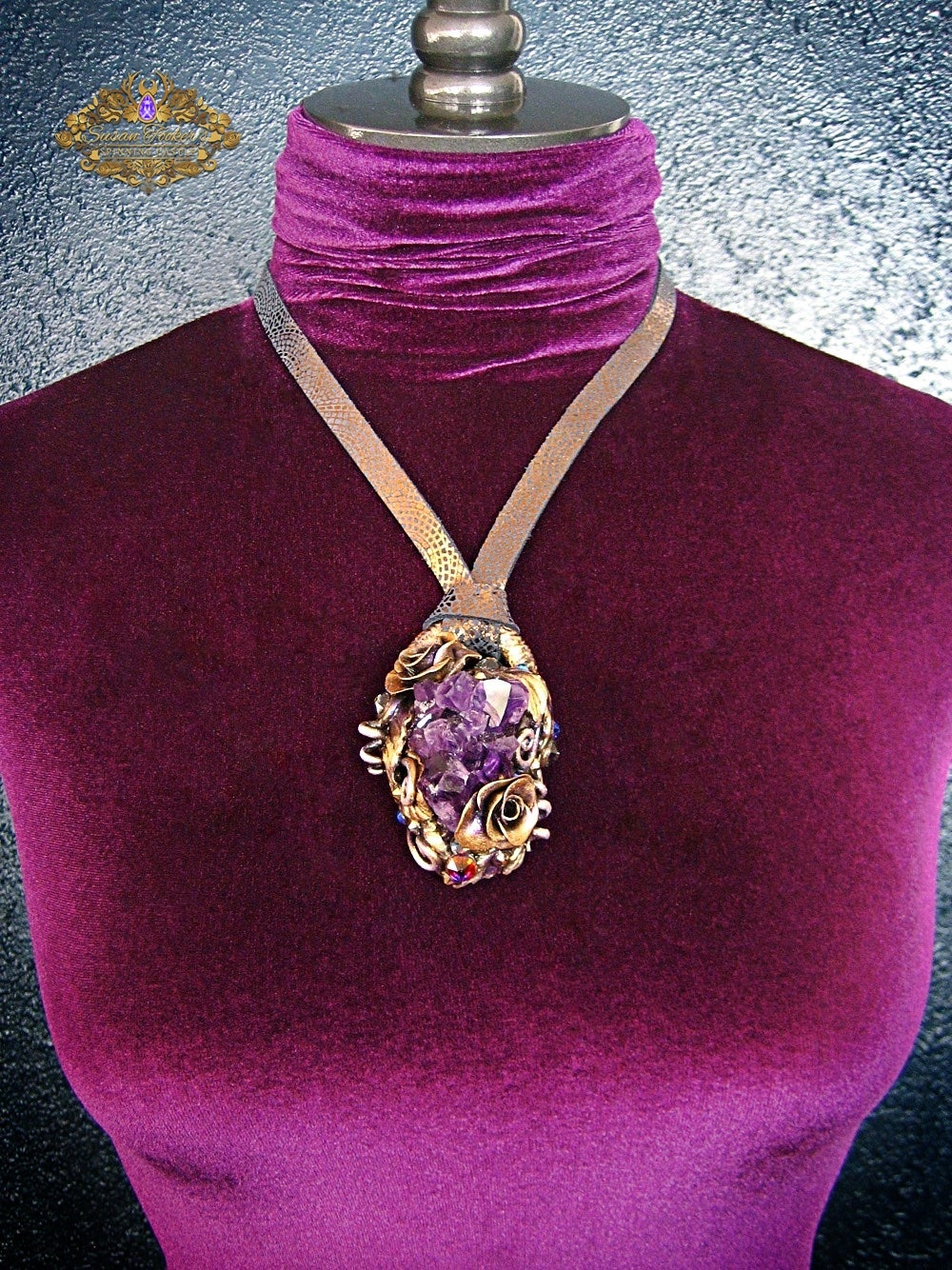 Image of VIOLET FAE - Amethyst Quartz Crystal Cluster Statement Amulet Necklace Witch Aesthetic