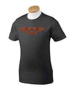 Image of Men's Black w/ Orange Wing Logo Tee