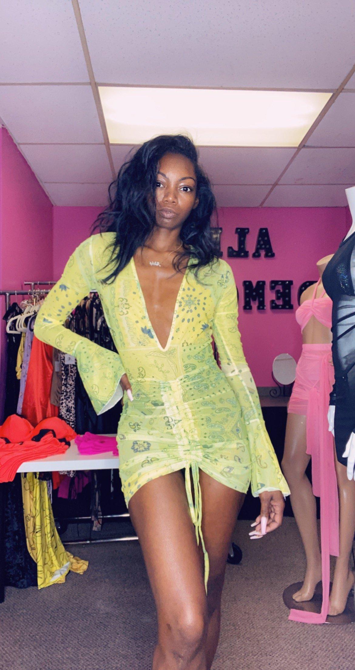 Image of Yellow Bandana Mesh Print Mini Dress