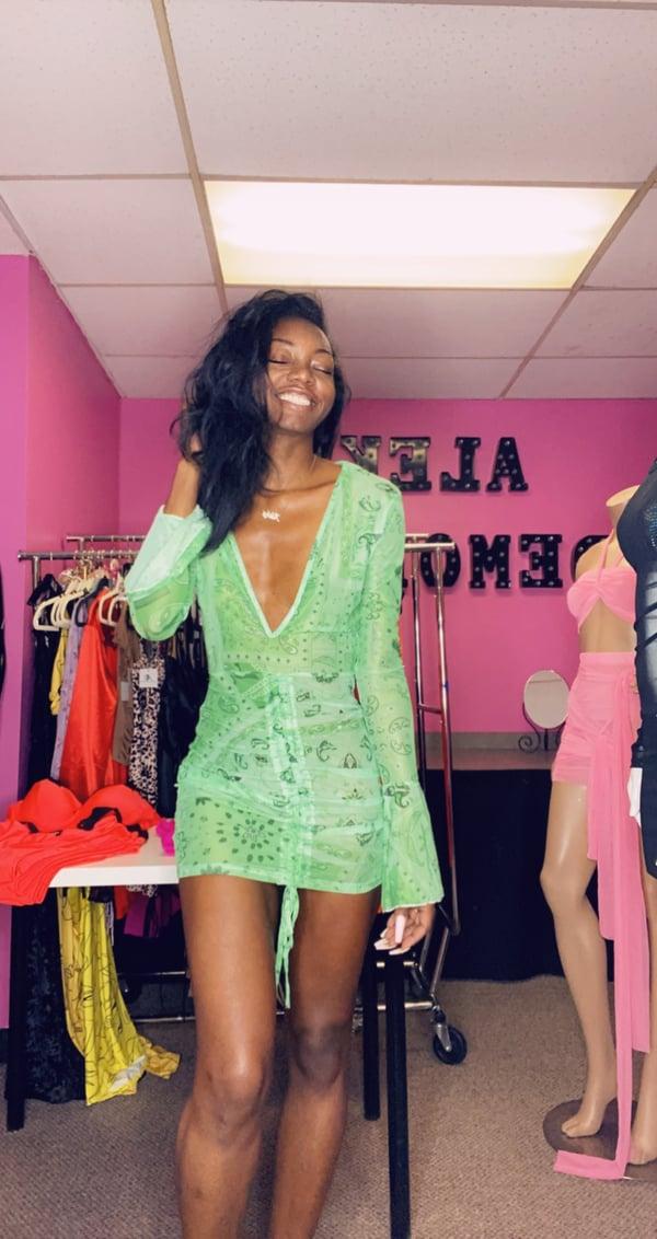 Image of Green Bandana Mesh Print Mini Dress
