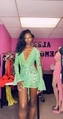 Image 2 of Green Bandana Mesh Print Mini Dress