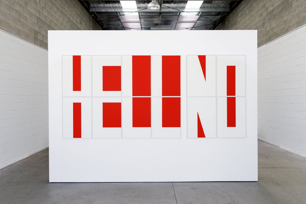 Image of HELL/HELLO/HELLNO (10 x red rectangles + 2 x red triangles)