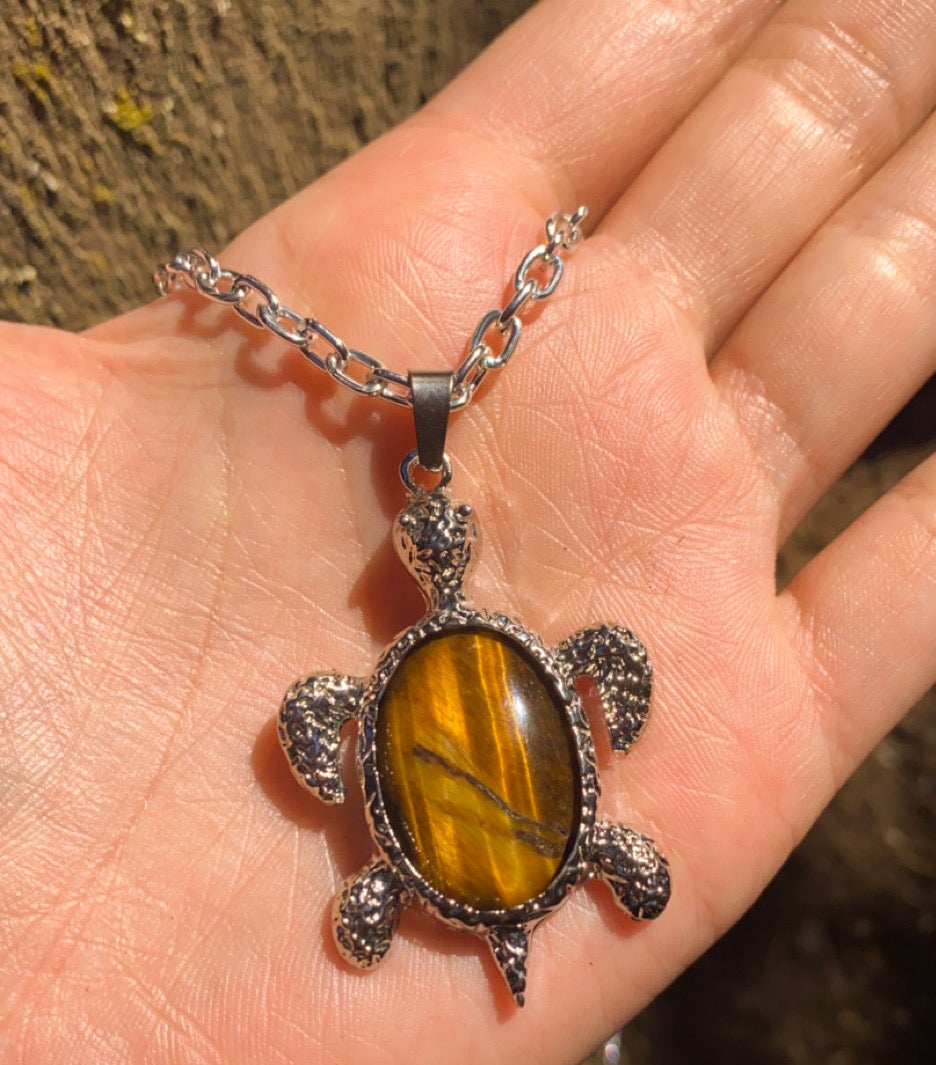 Image of tigers eye turtle necklace