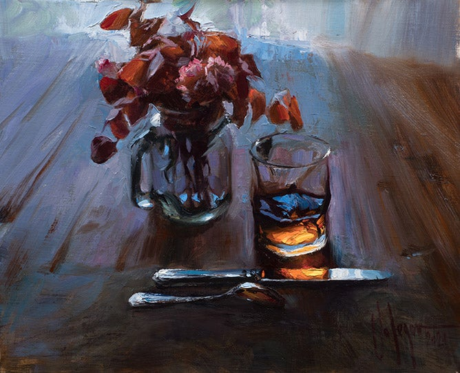 """Image of """"STILL LIFE WITH A BOUQUET OF DRIED FLOWERS"""", painting."""
