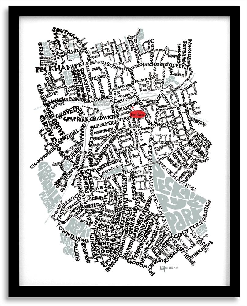 Image of East Dulwich SE22 & Peckham SE15- SE London Type Map