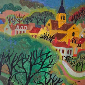 Image of Mid Century, Painting, 'Provencale Village,' Maurice Blanchard (1890–1969)