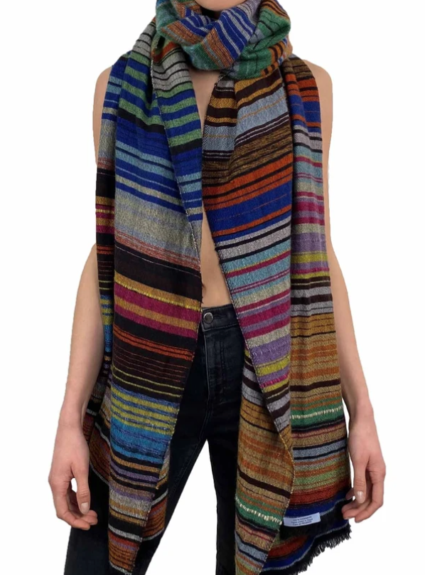 Image of Oversized Cashmere Striped Scarf/Wrap