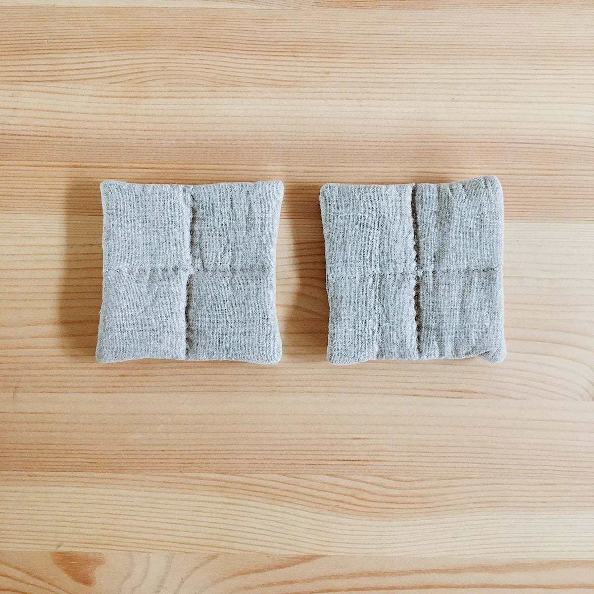 Image of Two Quilted Coasters, Natural Gray