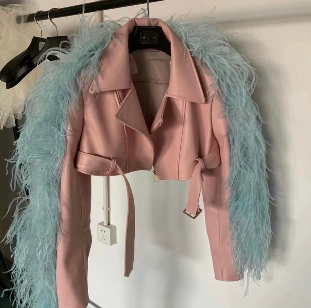 Image of LEATHER X OSTRICH JACKET