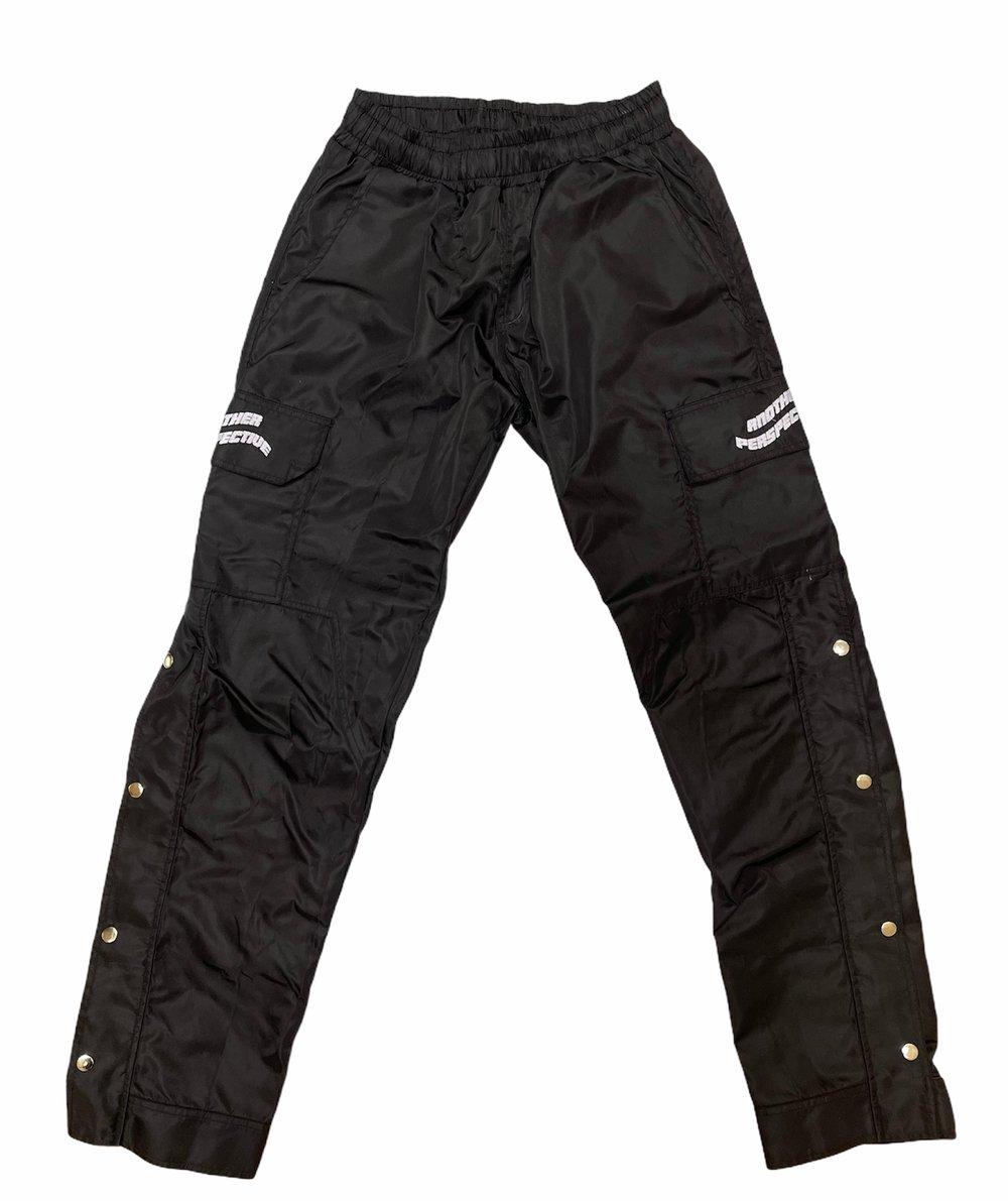 Image of Black Lightweight Button Zip Pants