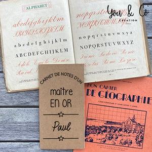 """Image of Carnet de notes personnalisable """"maîtresse, maître, Atsem, ... EN OR"""""""