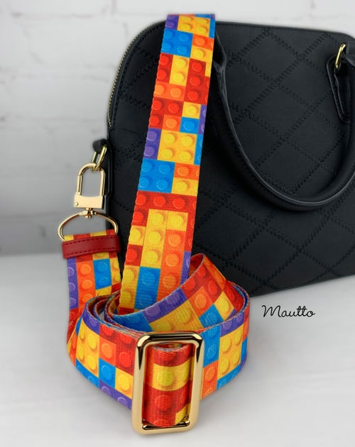 "Image of Building Blocks/Bricks Bag Strap - 1.5"" Wide Nylon - Adjustable Length - U Shape Style #16XLG Hooks"