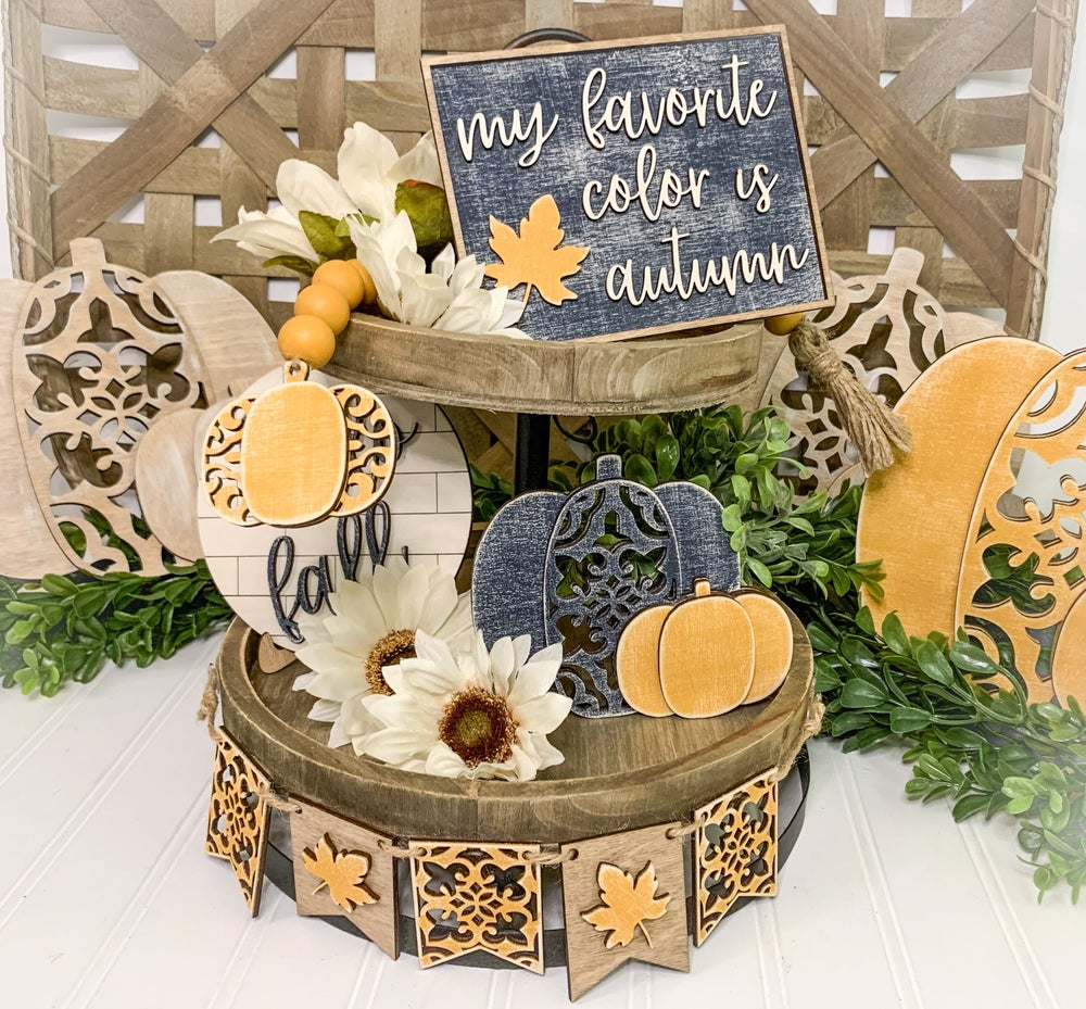 Image of Tiered Tray - Pumpkins