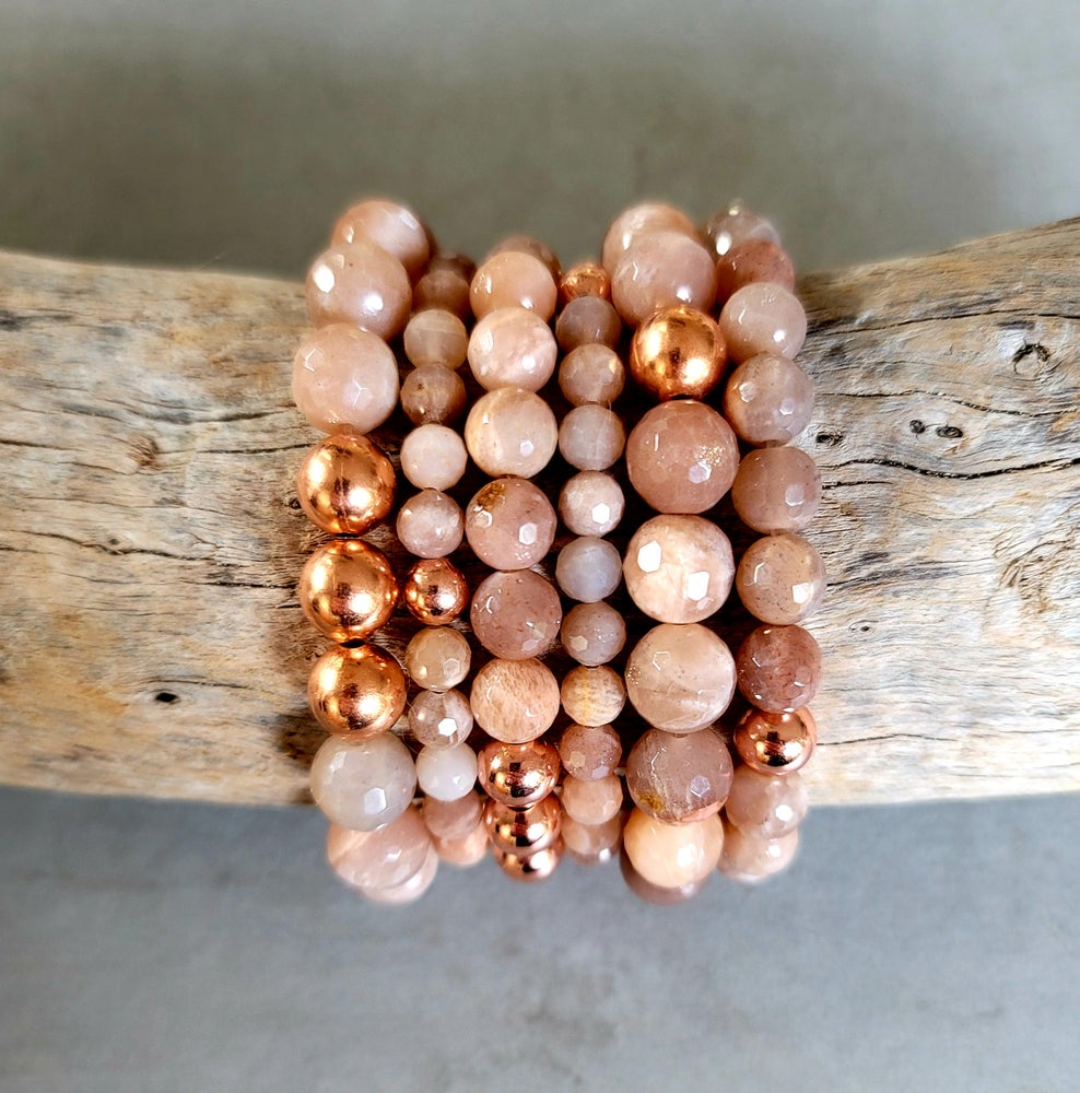 Image of PEACH MOONSTONE (Faceted) & COPPER BRACELET - 6mm, 8mm & 10mm bead sizes