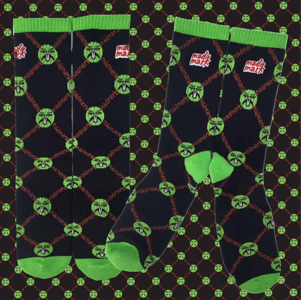 Image of embroidered madmark crew socks