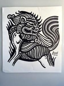 Image of Pattern Lion Statue Doodle