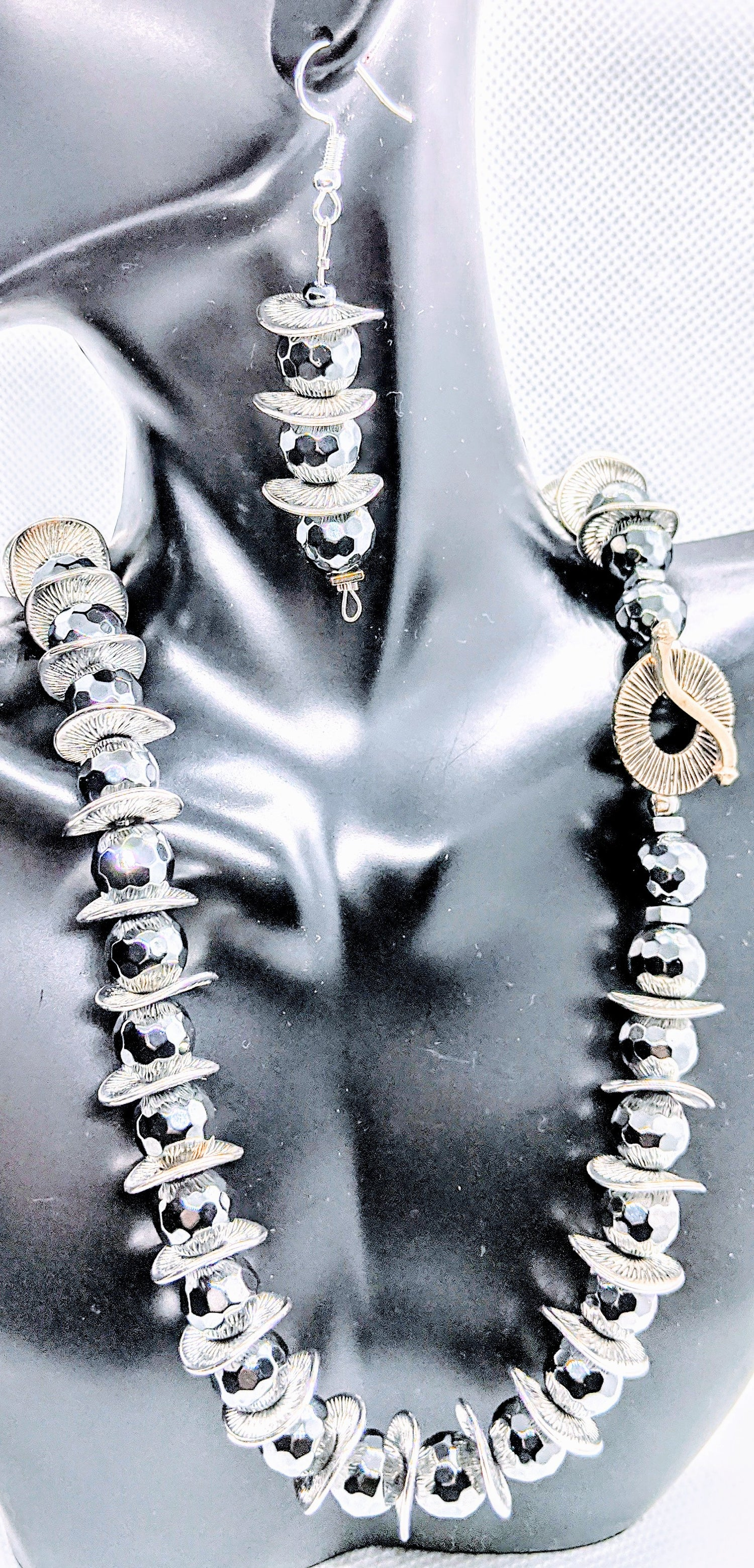 "Original ""Hematite Faceted & Silver Metal Disc Necklace Set"""