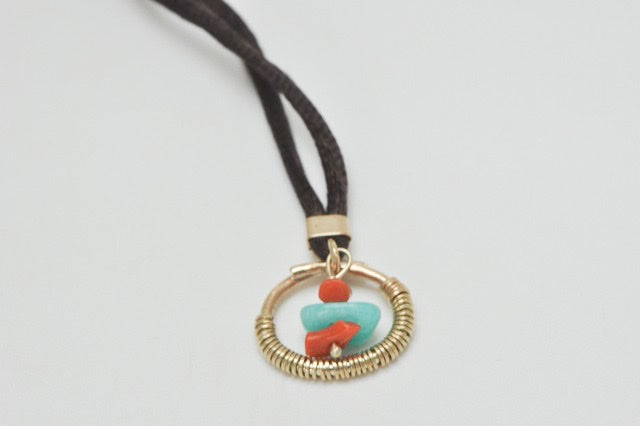 Image of Mimi 9ct gold pendant necklace and satin cord
