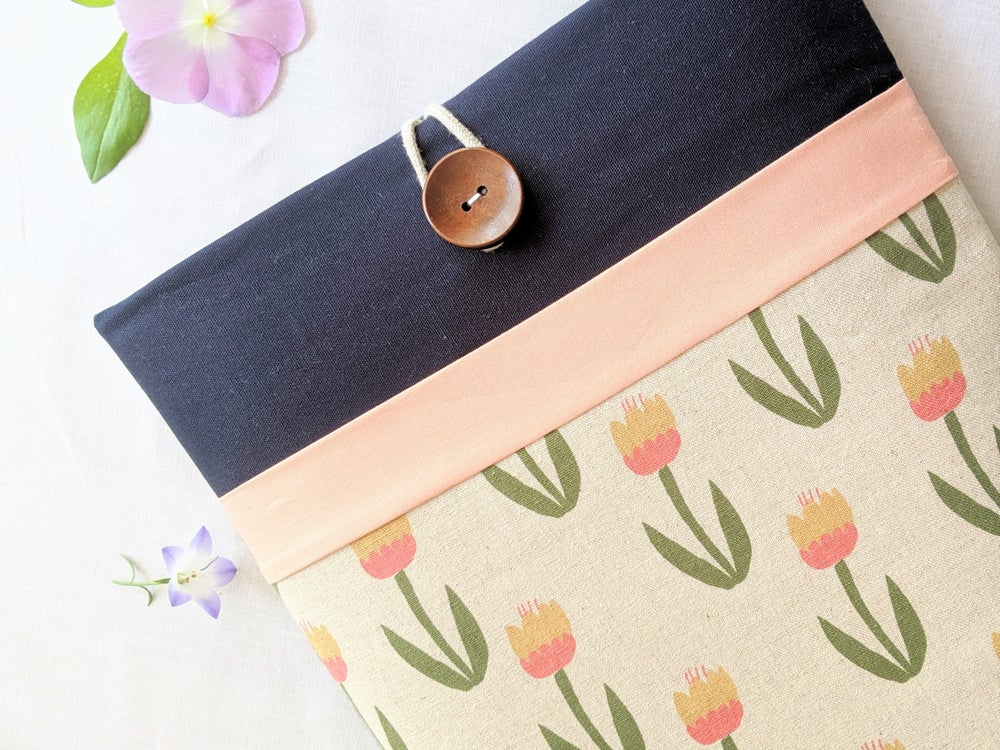 """Image of Tulips and Peach Laptop Case, iPad Case Made to Order Fit 9.7"""", 13"""", up to 15.6"""" Devices"""