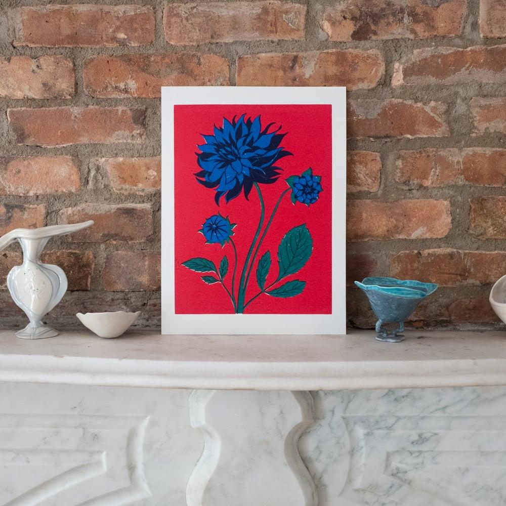 Image of Blue Dahlia - Linocut Print