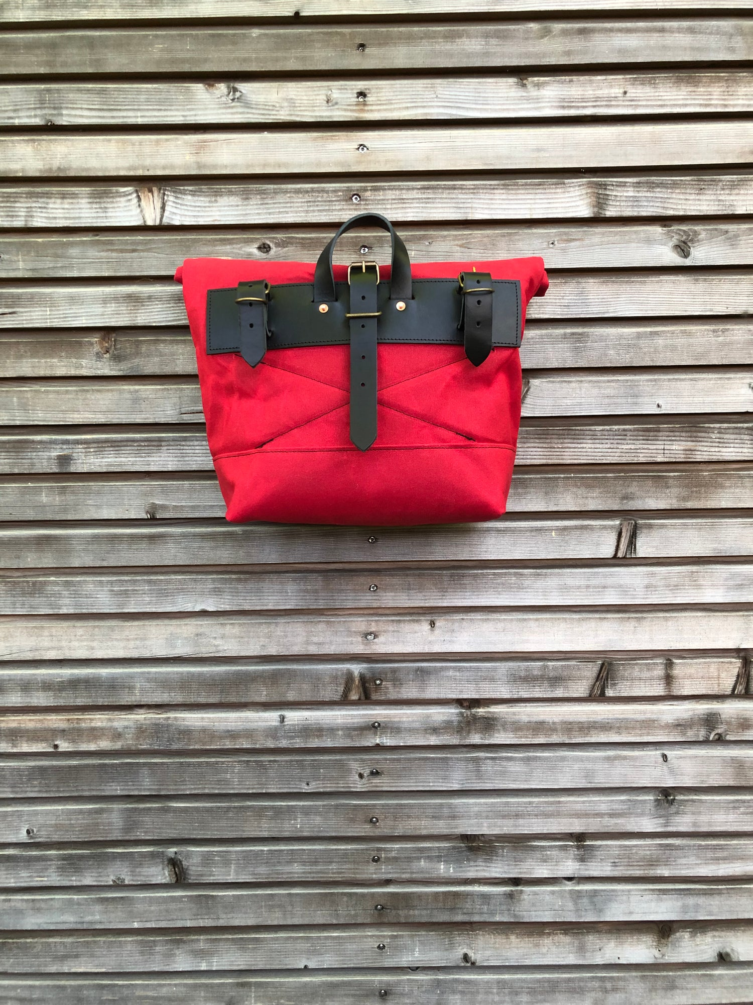 Image of Red Waxed canvas saddlebag for Super73 Motorbike bag Motorcycle bag Bicycle bag in waxed canvas